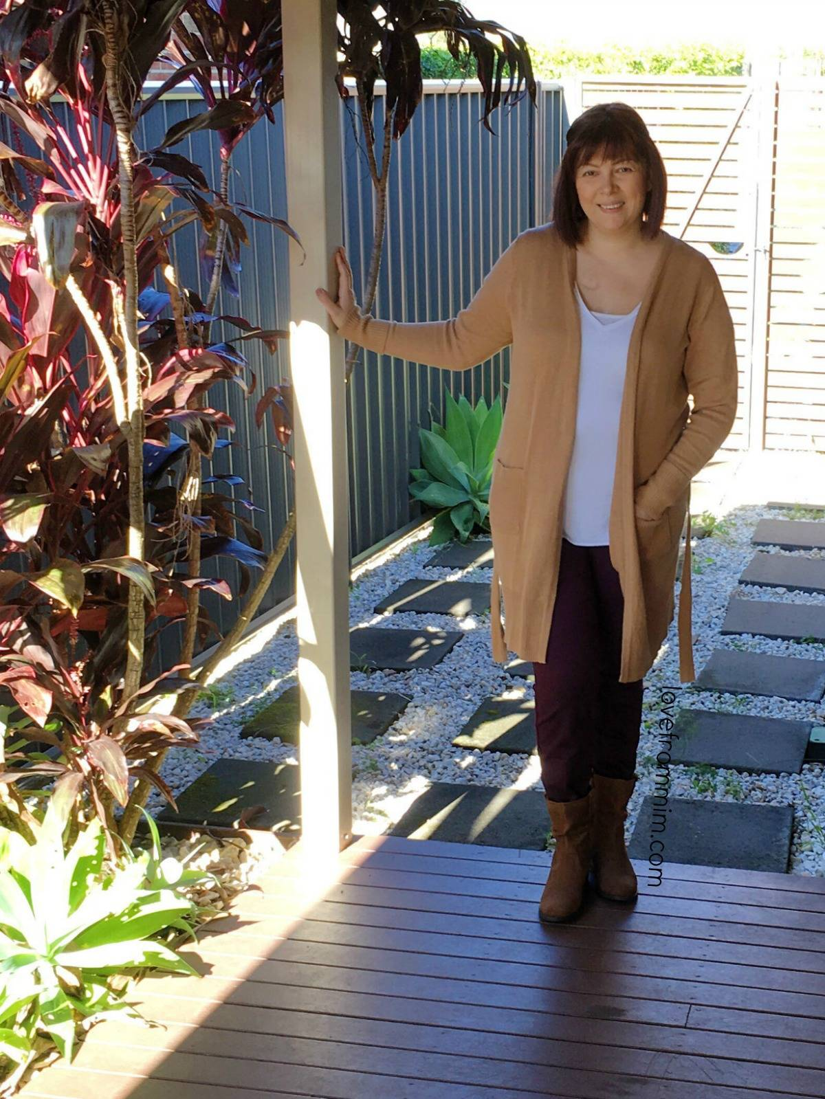 Updating my Winter Wardrobe with Rockmans - lovefrommim.com Chunky Knit Black Jumper Black Leggings Black Ankle Boots Autumn Outfit Idea Winter Outfit Idea Rockmans Long Sleeved Tan Belted Cardigan in Biscotti Rockmans Full Length High Waisted Jeggings in Bordeaux