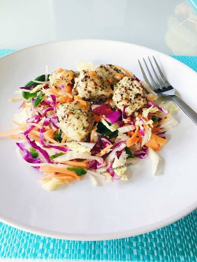 My First Week Results on Lite n' Easy! Love from Mim Lite n' Easy Chicken Bites on a Layered Salad with Peanuts and Vietnamese Dressing