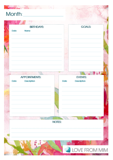 month at a glance planner free printable
