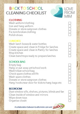 Need to get organised for back to school? This FREE Back to School Cleaning Checklist will help! Love from Mim #freeprintables #backtoschoolprintables #backtoschoolchecklist #backtoschoolcleaning #cleaningchecklist #backtoschoolcleaningchecklist