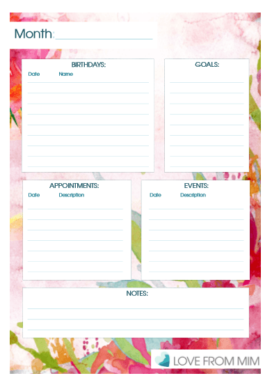 Month at a Glance Monthly Planner