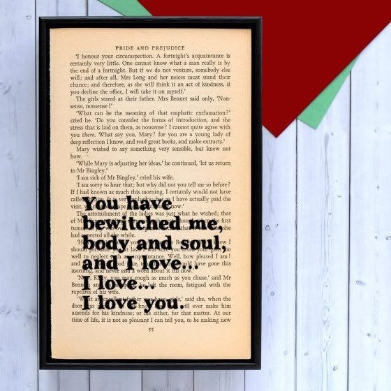 BookGeek Jane Austen Framed Book Page Art