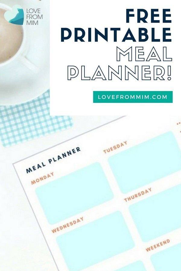 Free Printable Meal Planner - Love from Mim