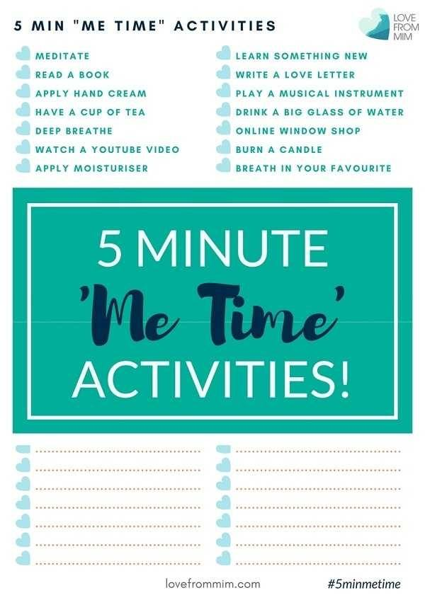 5 Minute Me Time Activities! Love from Mim Self-Care Activities for Busy Mums