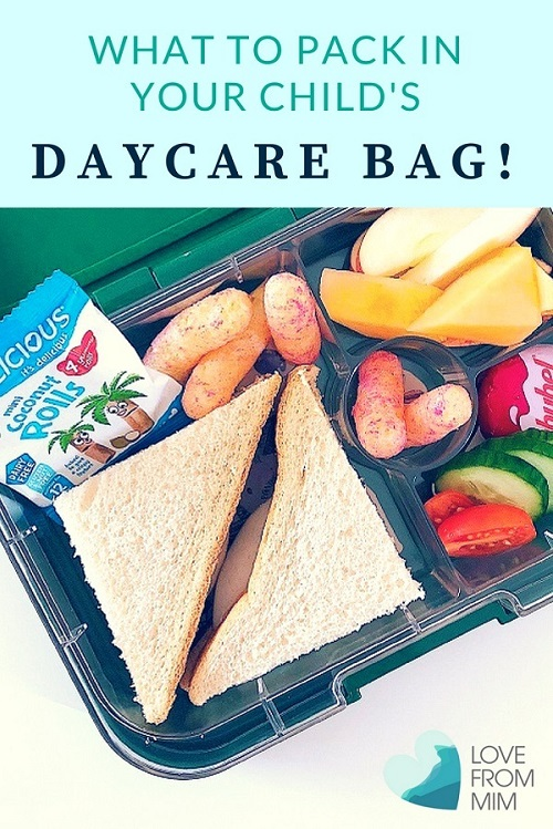 What to pack in a daycare bag - Love from Mim Daycare bag checklist Day care bag checklist Toddler lunch box ideas toddler lunch ideas daycare lunch ideas #daycarelist #daycare #daycarechecklist #toddlers