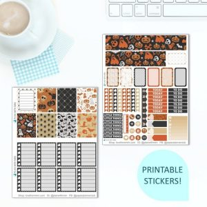 This Printable Happy Halloween Full Weekly Kit has everything you need to decorate your Erin Condren LifePlanner! Whether you're a no white space planner or not, you have such much choice in this digital printables sticker kit