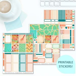 This Printable Down in Africa Full Weekly Kit has everything you need to decorate your Erin Condren LifePlanner! Whether you're a no white space planner or not, you have such much choice in this digital printables sticker kit