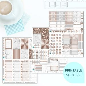This Printable Rose Gold Marble Full Weekly Kit has everything you need to decorate your Erin Condren LifePlanner! Whether you're a no white space planner or not, you have such much choice in this digital printables sticker kit