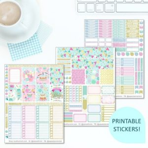 This Printable Happy Birthday Full Weekly Kit has everything you need to decorate your Erin Condren LifePlanner! Whether you're a no white space planner or not, you have such much choice in this digital printables sticker kit