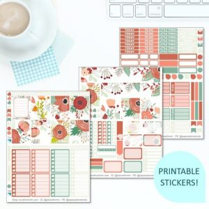 This Printable Peaches & Green Full Weekly Kit has everything you need to decorate your Erin Condren LifePlanner! Whether you're a no white space planner or not, you have such much choice in this digital printables sticker kit