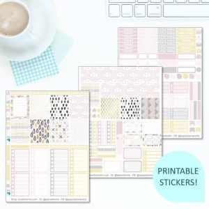 This Printable Pretty Modern Full Weekly Kit has everything you need to decorate your Erin Condren LifePlanner! Whether you're a no white space planner or not, you have such much choice in this digital printables sticker kit