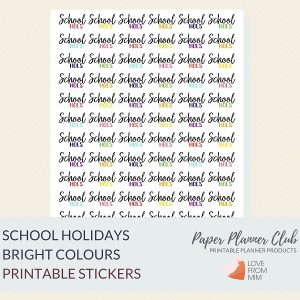 These Bright Printable School Holidays Stickers will help you decorate your Erin Condren LifePlanner or other planners and stay super organised and productive! Digital printables school holidays stickers sheet. #lovefrommim #paperplannerclub #schoolholidays #schoolholidayreminders #vacationreminders #schoolholidaystickers #plannerstickers #teacherplanner #teacherplannerstickers Teacher Planner School Planner