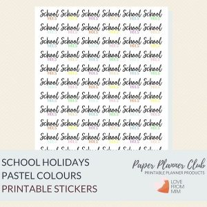 These Pastel Printable School Holidays Stickers will help you decorate your Erin Condren LifePlanner or other planners and stay super organised and productive! Digital printables school holidays stickers sheet. #lovefrommim #paperplannerclub #schoolholidays #schoolholidayreminders #vacationreminders #schoolholidaystickers #plannerstickers #teacherplanner #teacherplannerstickers Teacher Planner School Planner