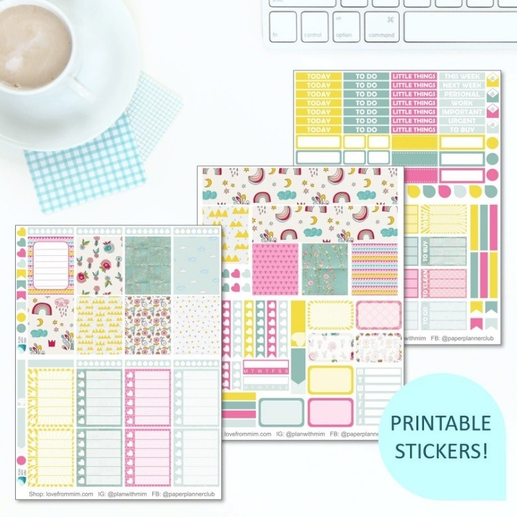 This Printable Sunshine & Rainbows Full Weekly Kit has everything you need to decorate your Erin Condren LifePlanner! Whether you're a no white space planner or not, you have such much choice in this digital printables sticker kit.