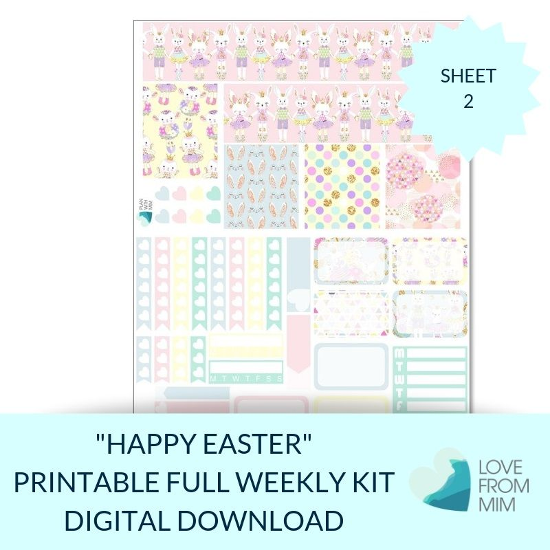 picture relating to Happy Easter Printable identify Printable Satisfied Easter Total Weekly Package Electronic Planner Stickers (for Erin Condren Vertical)