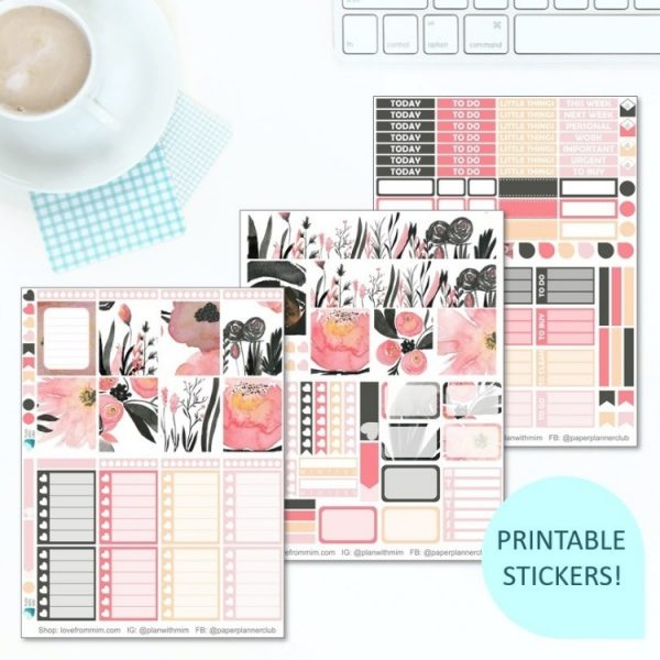 This Printable Black & Pink Flowers Full Weekly Kit has everything you need to decorate your Erin Condren LifePlanner! Whether you're a no white space planner or not, you have such much choice in this digital printables black and pink floral sticker kit. #planneraddict #plannerstickers #freeprintables #printableplannerstickers #etsystickers #erincondrenstickers #planning #floralstickers #flowers