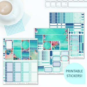 This Printable Blue Garden Full Weekly Kit has everything you need to decorate your Erin Condren LifePlanner! Whether you're a no white space planner or not, you have such much choice in this digital printables sticker kit. Perfect if you love floral and blue themed designs.