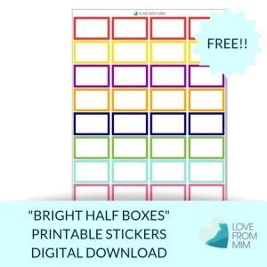 These Free Printable Bright Half Boxes stickers will help you decorate your Erin Condren LifePlanner or other planners and stay super organised and productive! Whether you're a no white space planner or not, you have such much choice on this digital printables Half Box stickers sheet.