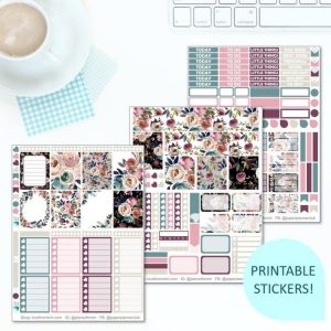 This Printable Dusk Full Weekly Kit has everything you need to decorate your Erin Condren LifePlanner! Whether you're a no white space planner or not, you have such much choice in this digital printables sticker kit. Dusk flowers #planneraddict #plannerstickers #freeprintables #printableplannerstickers #etsystickers #erincondrenstickers #planning #erincondren