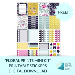 This Free Printable Floral Prints Mini Weekly Kit has stickers to decorate your Erin Condren LifePlanner or most other planners! Whether you're a no white space planner or not, you have such much choice in this freebie digital printables sticker kit. #planneraddict #plannerstickers #freeprintables #printableplannerstickers #etsystickers #erincondrenstickers #planning #