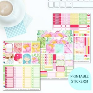 This Printable Flower Fairies Full Weekly Kit has everything you need to decorate your Erin Condren LifePlanner! Whether you're a no white space planner or not, you have such much choice in this digital printables sticker kit. Perfect if you love floral and fairy designs.