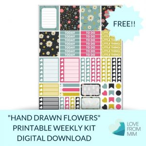This Free Printable Hand Drawn Flowers Mini Weekly Kit has stickers to decorate your Erin Condren LifePlanner or most other planners! Whether you're a no white space planner or not, you have such much choice in this freebie digital printables sticker kit. #planneraddict #plannerstickers #freeprintables #printableplannerstickers #etsystickers #erincondrenstickers #planning #erincondren