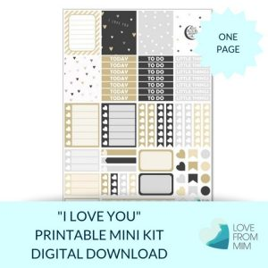 This Printable I Love You Mini Weekly Kit has everything you need to decorate your Erin Condren LifePlanner! Whether you're a no white space planner or not, you have such much choice in this digital printables sticker kit. Perfect for a Wedding, Engagement, Anniversary or Valentine's Day #planneraddict #plannerstickers #freeprintables #printableplannerstickers #etsystickers #erincondrenstickers #planning #erincondren #heartstickers #lovestickers #valentinesday #wedding #anniversary #engagement
