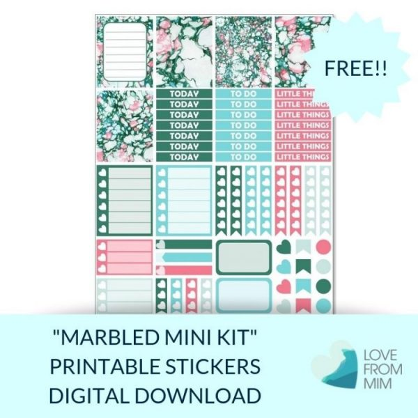 This Free Printable Marbled Mini Weekly Kit has stickers to decorate your Erin Condren LifePlanner or most other planners! Whether you're a no white space planner or not, you have such much choice in this freebie digital printables sticker kit. #planneraddict #plannerstickers #freeprintables #printableplannerstickers #etsystickers #erincondrenstickers #planning #marblestickers