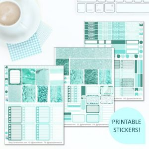 This Printable Minty Fresh Full Weekly Kit has everything you need to decorate your Erin Condren LifePlanner! Whether you're a no white space planner or not, you have such much choice in this digital printables sticker kit. #planneraddict #plannerstickers #freeprintables #printableplannerstickers #etsystickers #erincondrenstickers #planning #erincondren #mint #glitter