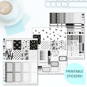 This Printable Monochrome Doodles Full Weekly Kit has everything you need to decorate your Erin Condren LifePlanner! Whether you're a no white space planner or not, you have such much choice in this digital printables black and white greyscale sticker kit. #planneraddict #plannerstickers #freeprintables #printableplannerstickers #etsystickers #erincondrenstickers #planning #erincondren #monochrome #monochromeplanning