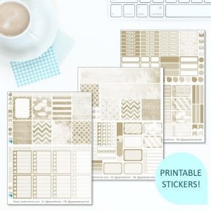 This Printable Nice & Neutral Full Weekly Kit has everything you need to decorate your Erin Condren LifePlanner! Whether you're a no white space planner or not, you have such much choice in this digital printables beige sticker kit. #planneraddict #plannerstickers #freeprintables #printableplannerstickers #etsystickers #erincondrenstickers #planning #erincondren #shabbychic #neutral