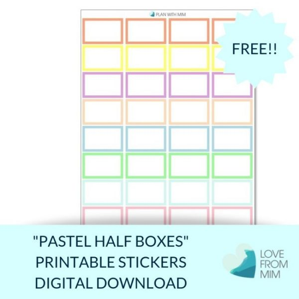 These Free Printable Pastel Half Boxes stickers will help you decorate your Erin Condren LifePlanner or other planners and stay super organised and productive! So much choice on this digital printables Half Box stickers sheet. #digitalstickers #plannerstickers #halfboxes #halfboxstickers #appointmentlabels #freestickers #freeprintables #printablestickers