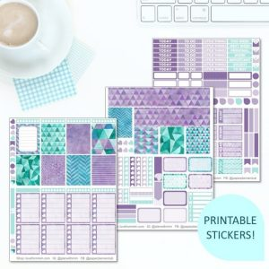 This Printable Purple Haze Full Weekly Kit has everything you need to decorate your Erin Condren LifePlanner! Whether you're a no white space planner or not, you have such much choice in this digital printables sticker kit. Perfect if you love watercolour, watercolor and geometric designs.