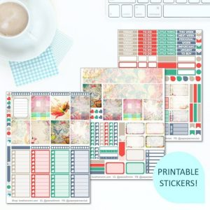 This Printable Very Vintage Full Weekly Kit has everything you need to decorate your Erin Condren LifePlanner! Whether you're a no white space planner or not, you have such much choice in this digital printables sticker kit. Perfect if you love shabby chic or geometric designs.