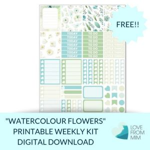 This Free Printable Watercolour Flowers Mini Weekly Kit has stickers to decorate your Erin Condren LifePlanner or most other planners! Whether you're a no white space planner or not, you have such much choice in this freebie digital printables sticker kit. #planneraddict #plannerstickers #freeprintables #printableplannerstickers #etsystickers #erincondrenstickers #planning #erincondren