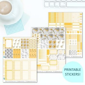 This Printable Yellow Floral Full Weekly Kit has everything you need to decorate your Erin Condren LifePlanner! Whether you're a no white space planner or not, you have such much choice in this digital printables yellow flowers sticker kit. #planneraddict #plannerstickers #freeprintables #printableplannerstickers #etsystickers #erincondrenstickers #planning #floralstickers #yellowstickers