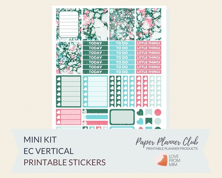 Free Printable Marbled Mini Weekly Kit Digital Planner Stickers (for