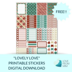 This Free Printable Lovely Love Mini Weekly Kit has stickers to decorate your Erin Condren LifePlanner or most other planners! Whether you're a no white space planner or not, you have such much choice in this freebie digital printables sticker kit. #planneraddict #plannerstickers #freeprintables #printableplannerstickers #etsystickers #erincondrenstickers #planning #valentinesday #love #hearts