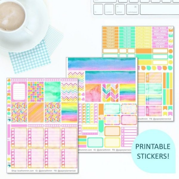 This Printable Tie Dye Full Weekly Kit has everything you need to decorate your Erin Condren LifePlanner! Whether you're a no white space planner or not, you have such much choice in this digital printables watercolour rainbow pastels sticker kit. #planneraddict #plannerstickers #freeprintables #printableplannerstickers #etsystickers #erincondrenstickers #tiedye #rainbowstickers #pastelstickers #watercolourstickers