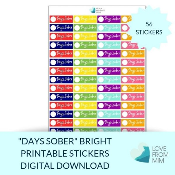 These Bright Days Sober stickers will help you decorate your Erin Condren LifePlanner or other planners and stay super positive about sobriety! Sobriety Stickers #sober #soberstickers #soberaf #alcoholfreestickers #alcoholfree #sobrietystickers Perfect for Dry January, Feb Fast/Febfast, Sober October, recording the number of days sober, a reminder for your AA daily prayer or sober pledge or an AA meeting/AA stickers. Create your own sober calendar or sobriety tracker with these sobriety stickers. #sober #soberaf #soberstickers #alcoholfree #alcoholfreestickers #aastickers #alcoholicsanonymous #sobriety #sobrietystickers