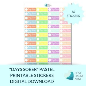These Pastel Days Sober stickers will help you decorate your Erin Condren LifePlanner or other planners and stay super positive about sobriety! Sobriety Stickers #sober #soberstickers #soberaf #alcoholfreestickers #alcoholfree #sobrietystickers Perfect for Dry January, Feb Fast/Febfast, Sober October, recording the number of days sober, a reminder for your AA daily prayer or sober pledge or an AA meeting/AA stickers. Create your own sober calendar or sobriety tracker with these sobriety stickers. #sober #soberaf #soberstickers #alcoholfree #alcoholfreestickers #aastickers #alcoholicsanonymous #sobriety #sobrietystickers