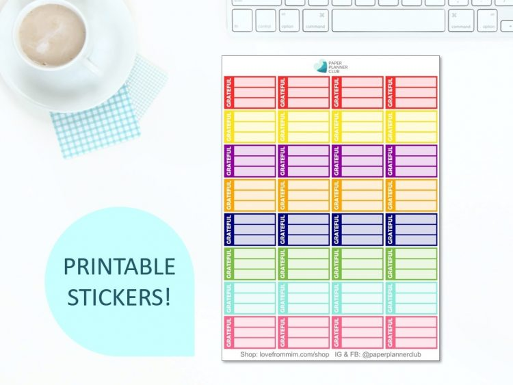 These Free Printable Gratitude List Stickers will help you decorate your Erin Condren LifePlanner or other planners and stay super positive, thankful and grateful! Create a DIY gratitude journal or happiness journal. #digitalstickers #freeprintables #printableplannerstickers #freesplannerstickers #plannerstickers #freestickers #gratitude #gratitudejournal #gratitudebulletjournal #gratitudediary #gratitudelist