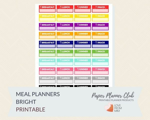 These Free Printable Meal Planner Stickers will help you learn how to meal plan easily and track meals with these digital printables Meal Planning Stickers sheet. #digitalstickers #freeprintables #printableplannerstickers #freesplannerstickers #plannerstickers #mealplanner #mealplanning #mealplannerstckers #lovefrommim #paperplannerclub