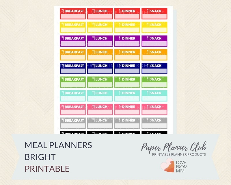 picture relating to Printable Meal Planner titled No cost Printable Evening meal Planner Stickers Multi-Colored Electronic