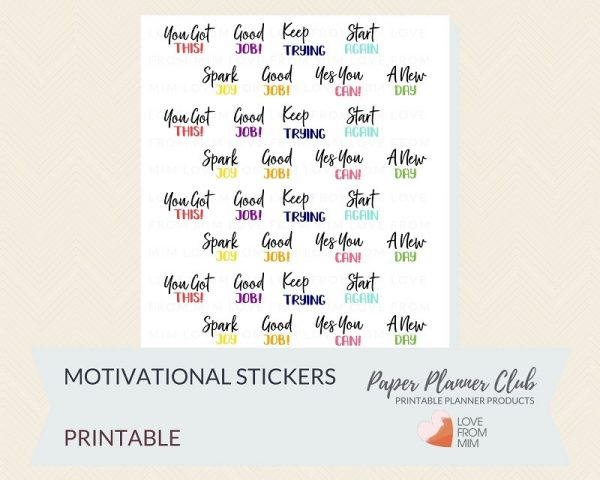 These Free Printable Motivational Stickers will help you decorate your Erin Condren LifePlanner or other planners and stay super inspired and motivated! So much choice on this digital printables Inspirational Stickers sheet. #digitalstickers #freeprintables #printableplannerstickers #freesplannerstickers #plannerstickers #motivationalquotes #inspirationalquotes #motivation #inspiration #motivationalstickers #inspirationalstickers #lovefrommim #paperplannerclub