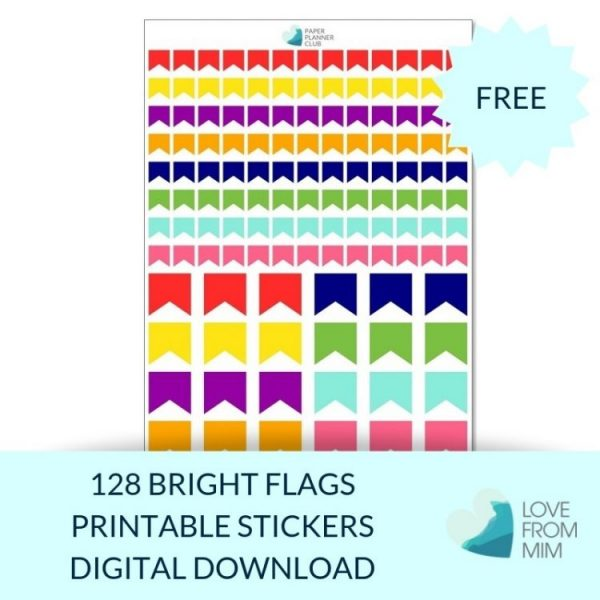 These Free Printable Flag Stickers will help you decorate your Erin Condren LifePlanner or other planners and stay organised! #digitalstickers #freeprintables #printableplannerstickers #freesplannerstickers #plannerstickers #freestickers #flagstickers