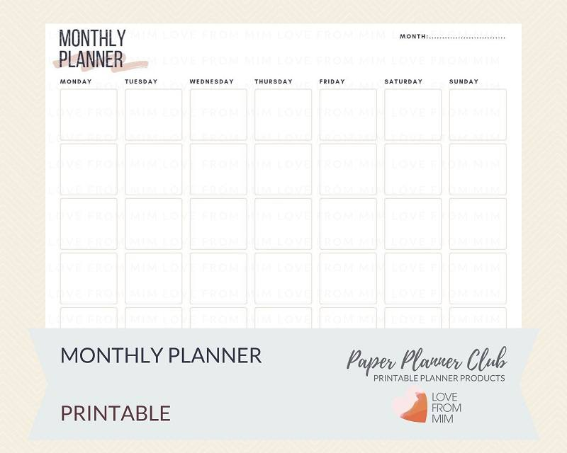 graphic regarding Printable Planner named Printable Every month Planner