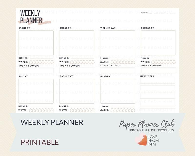 picture relating to Week Planner Printable known as Printable Weekly Planner