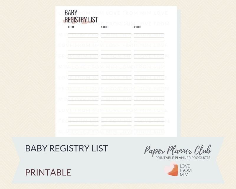 photo about Printable Baby Registry Checklist named Printable Youngster Registry Record
