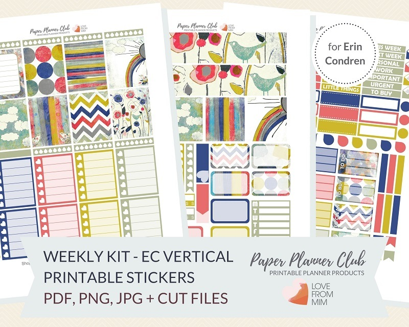 photograph regarding Printable Planner Stickers identify Cloudy Working day: Weekly Package Printable Planner Stickers Package for Erin Condren Everyday living Planner Weekly Planner Stickers